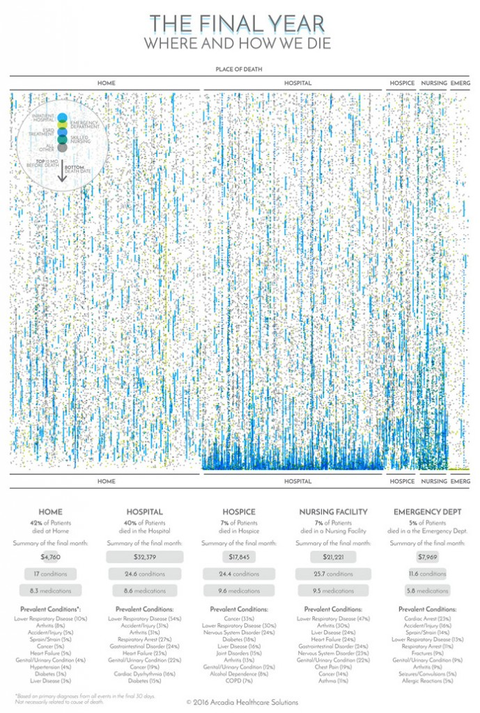 Data visualization of medical procedures during the final year of life for over 2000 patients.