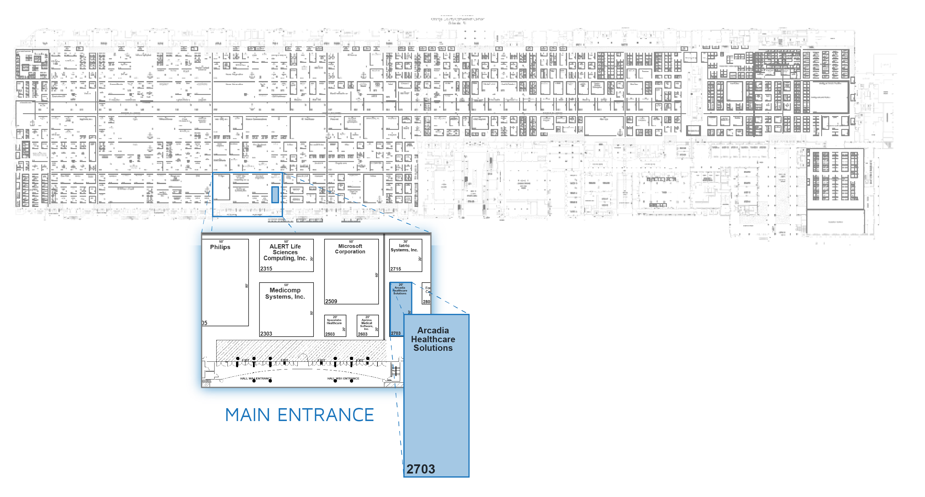 HIMSS Booth Map Arcadia 2703